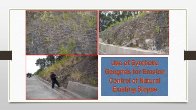Use of Synthetic Geogrids for Erosion Control of Natural Existing Slopes