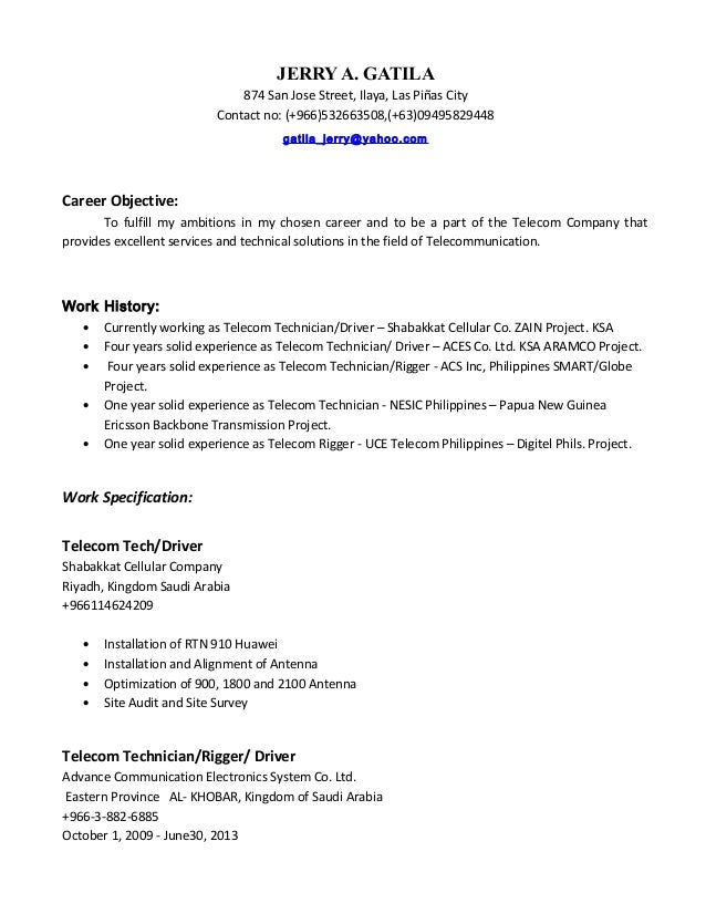 telecom technician cv - Romeo.landinez.co
