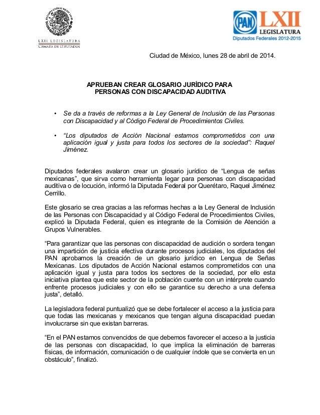 Ciudad de México, lunes 28 de abril de 2014. APRUEBAN CREAR GLOSARIO JURÍDICO PARA PERSONAS CON DISCAPACIDAD AUDITIVA • Se...