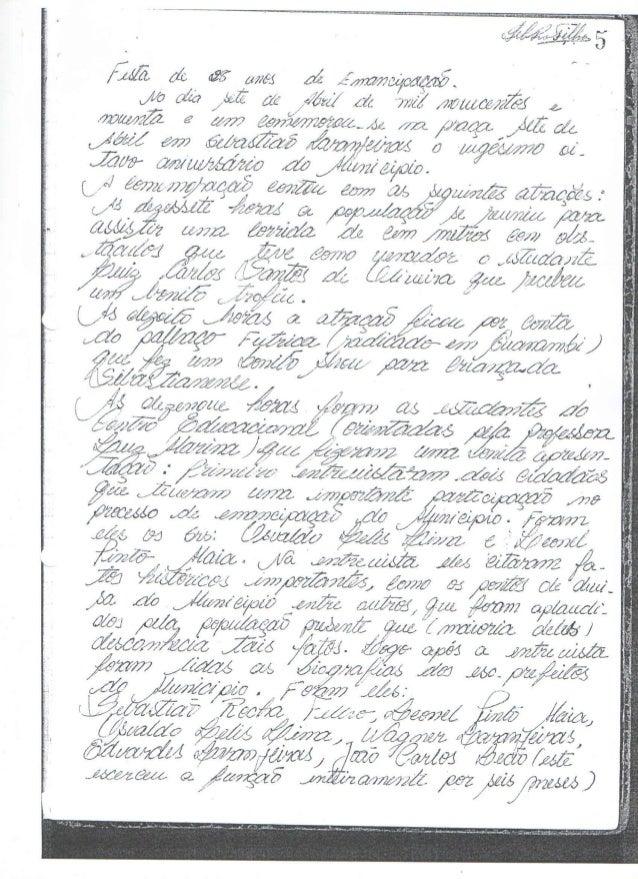 Ata do 28º Aniversário de emancipação de Sebastião Laranjeiras - BA