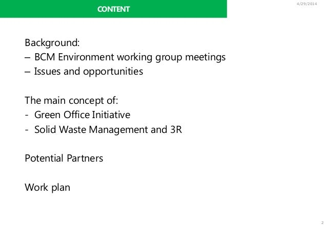 28 04 2014 Bcm S Green Office Initiative Starting From