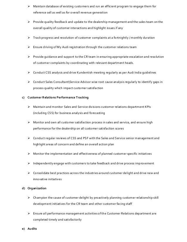 Job Description - Customer Delight & Process Manager
