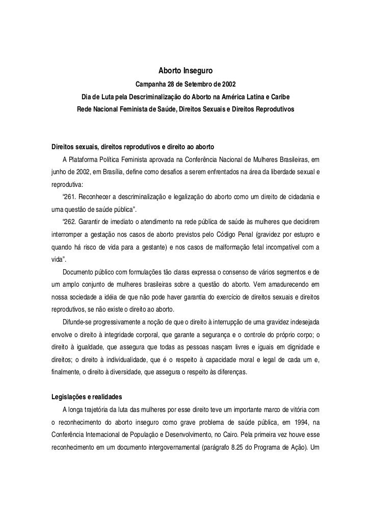 Aborto Inseguro                                Campanha 28 de Setembro de 2002           Dia de Luta pela Descriminalizaçã...