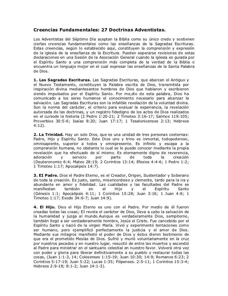 Creencias Fundamentales: 27 Doctrinas Adventistas.Los Adventistas del Séptimo Día aceptan la Biblia como su único credo y ...