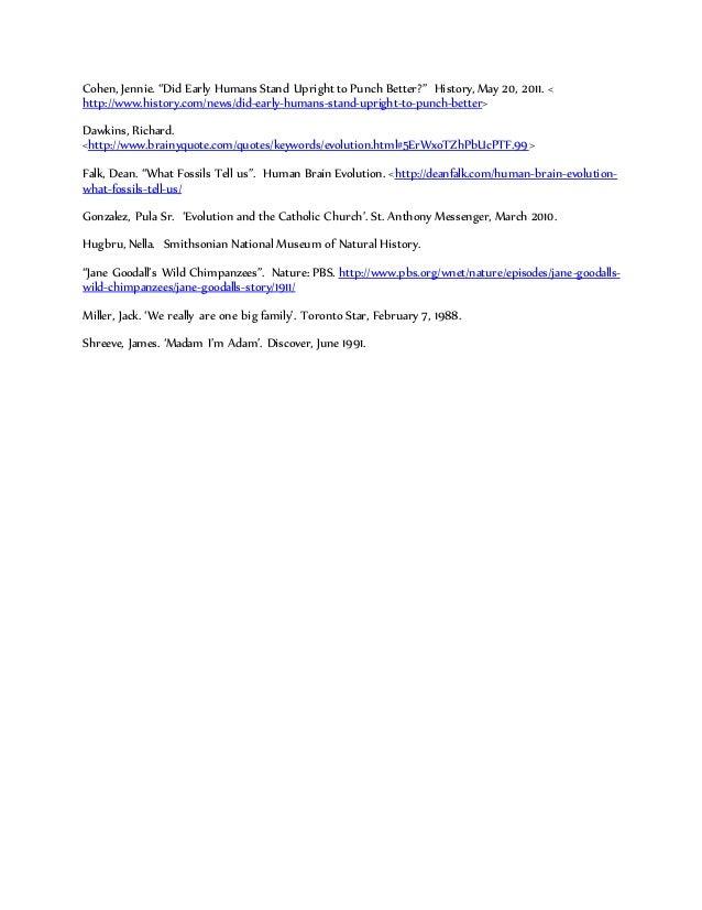 evolution essay  anthropology grade   works cited