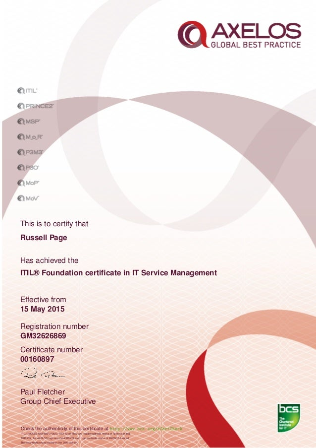 It Service Management Itil Foundation Certificate In It Service