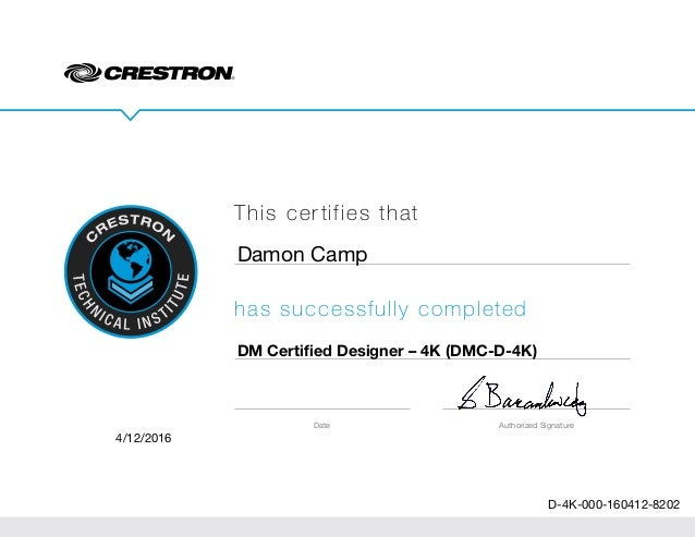 Crestron Certification D-4K-000-160412-8202