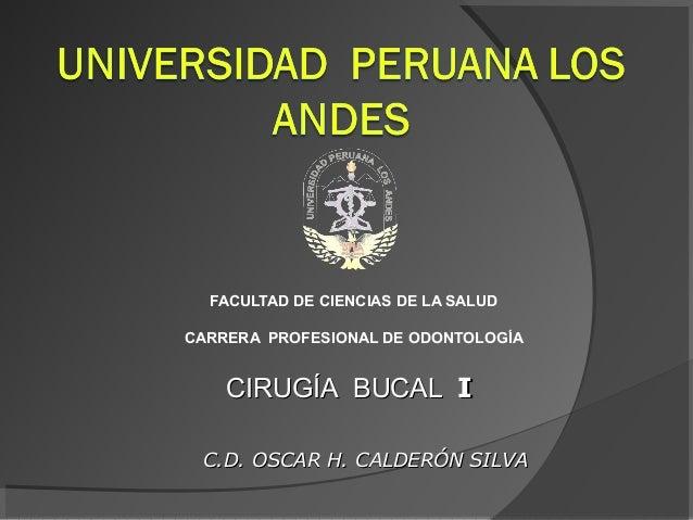 FACULTAD DE CIENCIAS DE LA SALUD CARRERA PROFESIONAL DE ODONTOLOGÍA  CIRUGÍA BUCAL I C.D. OSCAR H. CALDERÓN SILVA