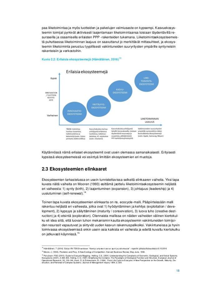 18 paa liiketoimintaa ja myös tuotteiden ja palvelujen valmiusaste on kypsempi. Kasvuekosys- teemin toimijat pyrkivät akti...