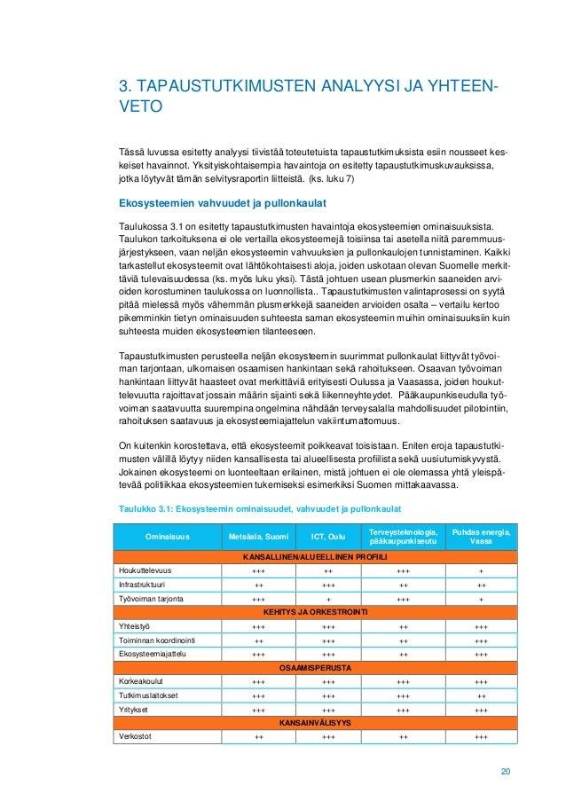 20 3. TAPAUSTUTKIMUSTEN ANALYYSI JA YHTEEN- VETO Tässä luvussa esitetty analyysi tiivistää toteutetuista tapaustutkimuksis...