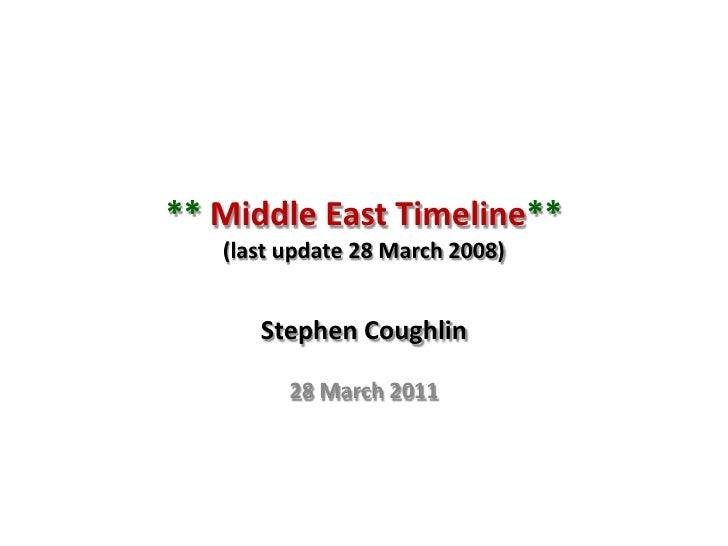 ** Middle East Timeline**(last update 28 March 2008)<br />Stephen Coughlin<br />28 March 2011<br />