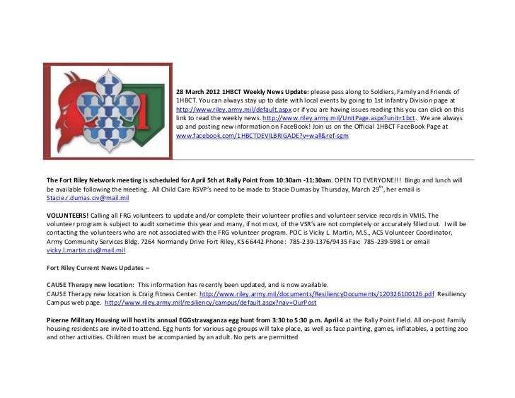 28 March 2012 1HBCT Weekly News Update: please pass along to Soldiers, Family and Friends of                              ...