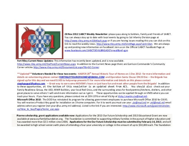 28 Nov 2012 1ABCT Weekly Newsletter: please pass along to Soldiers, Family and Friends of 1ABCT.                          ...
