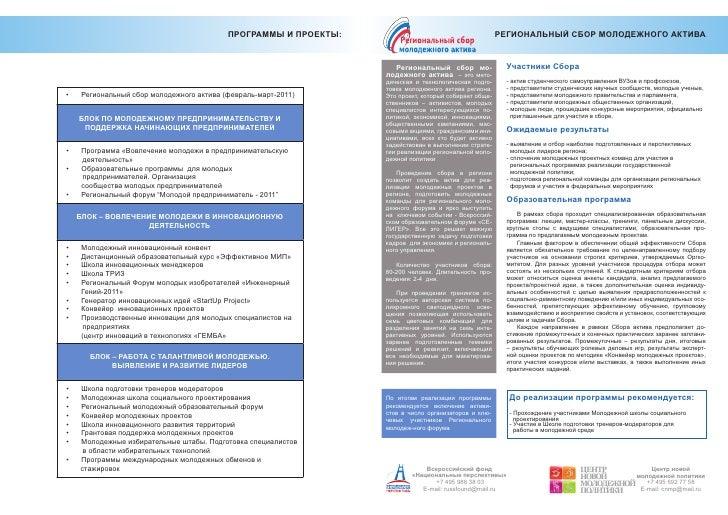 Проекты и программы современной молодежной политики