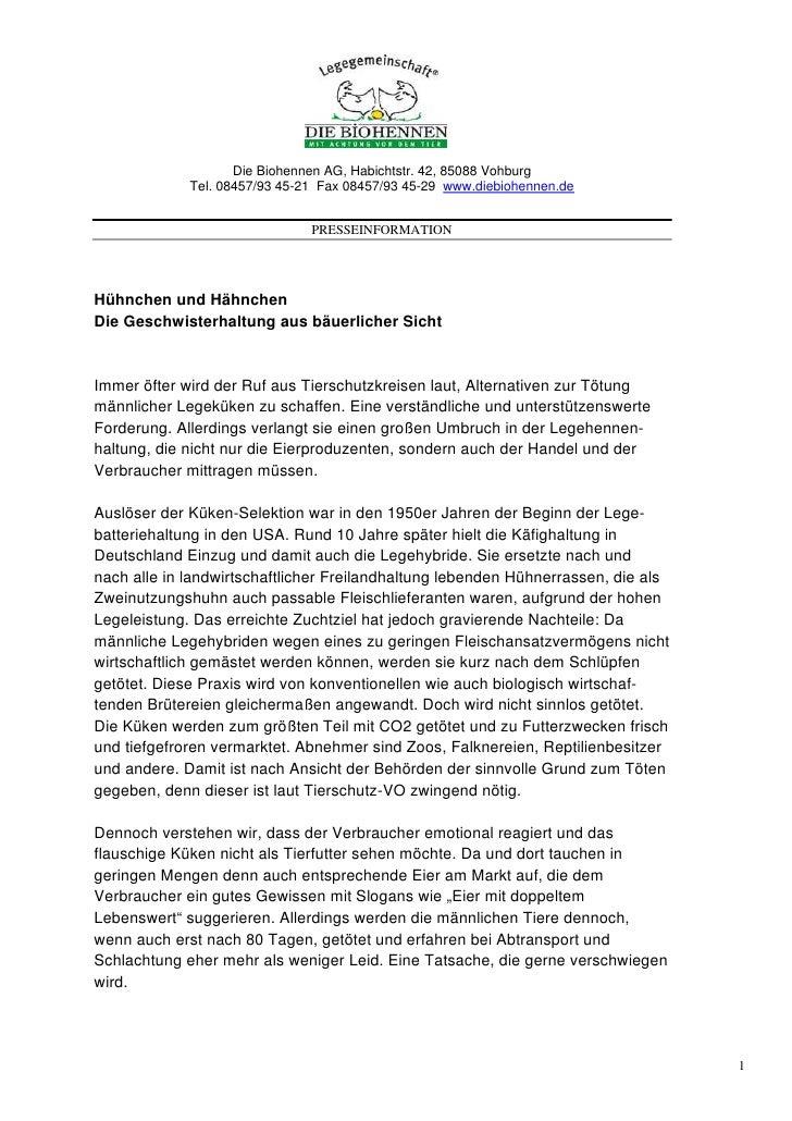 Die Biohennen AG, Habichtstr. 42, 85088 Vohburg             Tel. 08457/93 45-21 Fax 08457/93 45-29 www.diebiohennen.de    ...