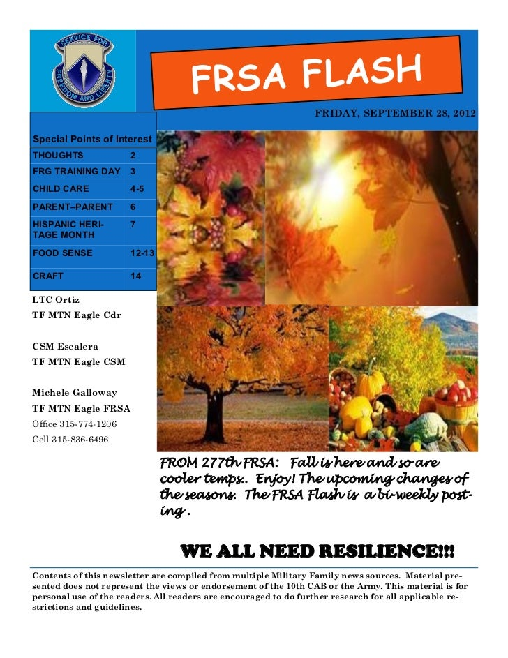 FRSA FLASH                                                                 FRIDAY, SEPTEMBER 28, 2012Special Points of Int...