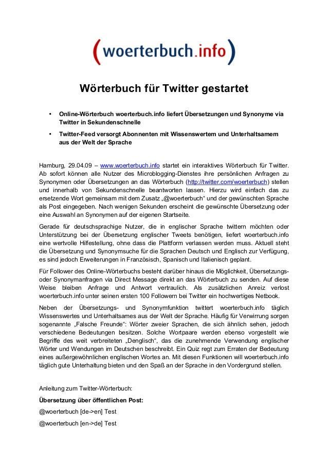 Wörterbuch für Twitter gestartet • Online-Wörterbuch woerterbuch.info liefert Übersetzungen und Synonyme via Twitter in Se...