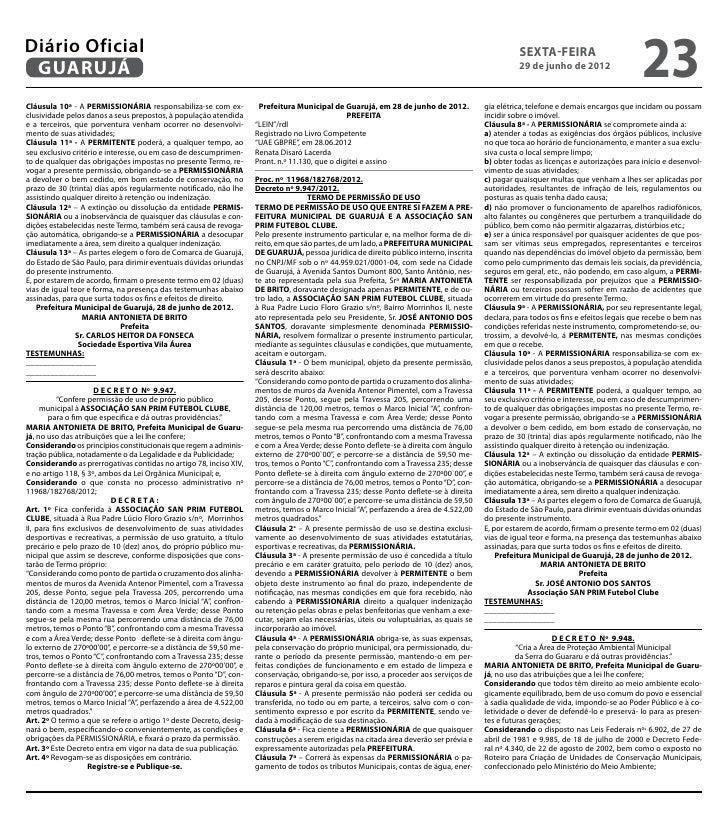 Diário Oficial de Guarujá 29-06-2012