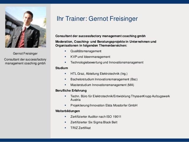 Consultant der successfactory management coaching gmbh  Moderation, Coaching- und Beratungsprojekte in Unternehmen und Org...