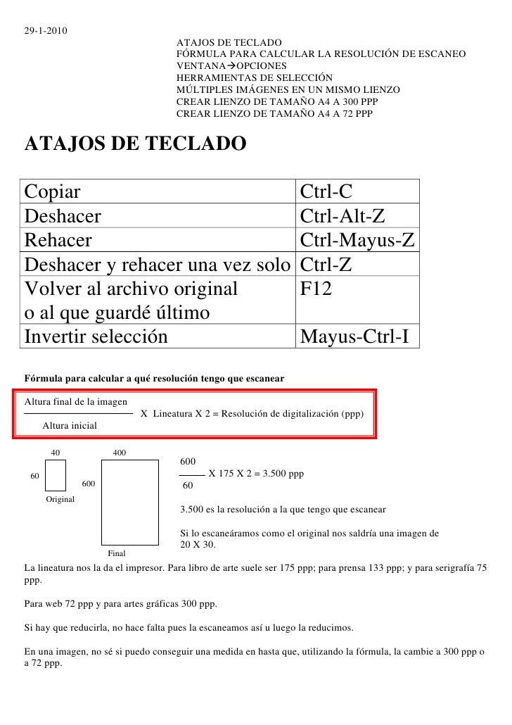 29-1-2010                                        ATAJOS DE TECLADO                                        FÓRMULA PARA CAL...