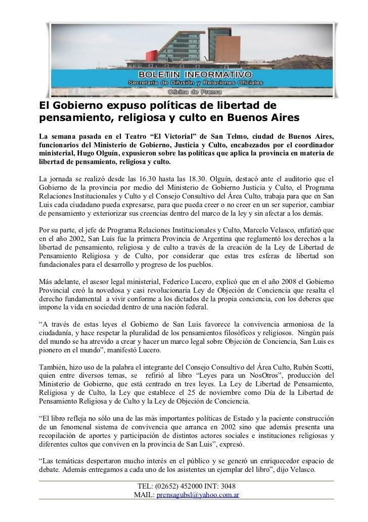"""El Gobierno expuso políticas de libertad depensamiento, religiosa y culto en Buenos AiresLa semana pasada en el Teatro """"El..."""