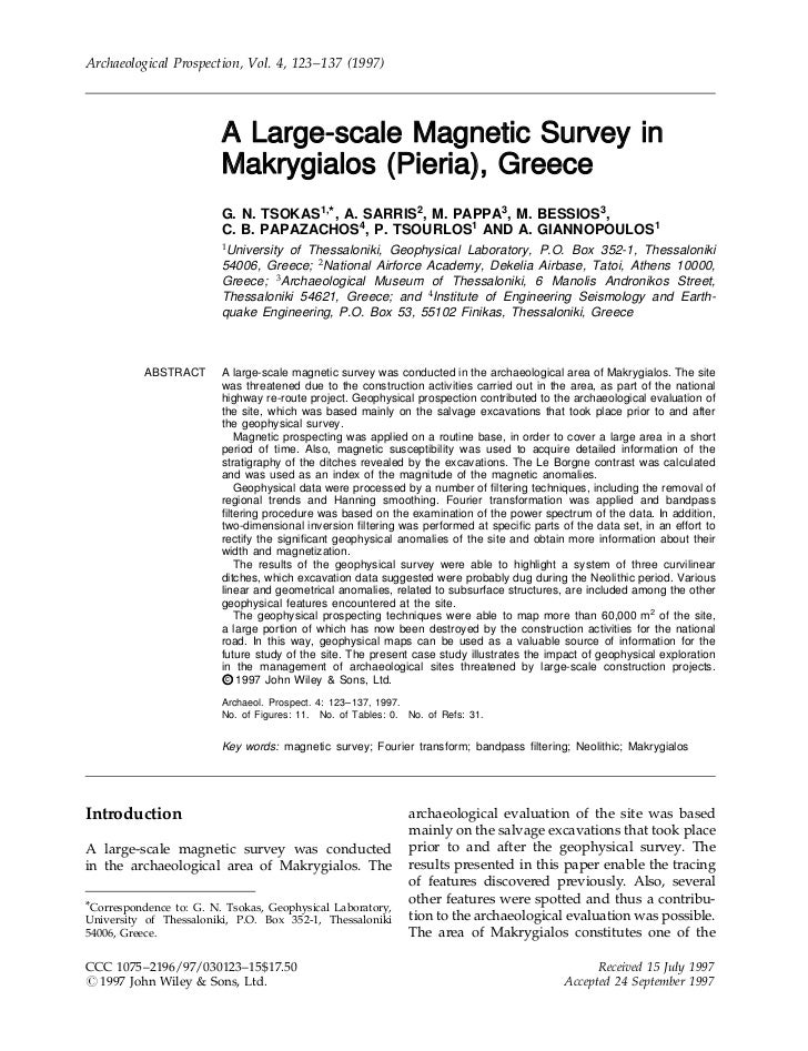 Archaeological Prospection, Vol. 4, 123±137 (1997)                         A Large-scale Magnetic Survey in               ...