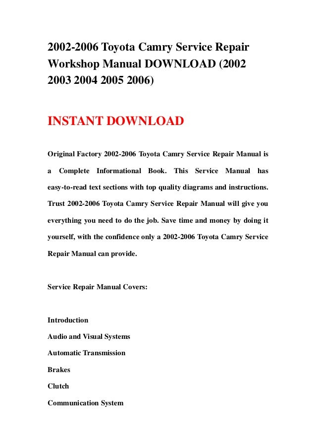 2002 2006 toyota camry service repair workshop manual download 2002 rh slideshare net 1997 Toyota Camry Manual 1997 Toyota Camry Manual