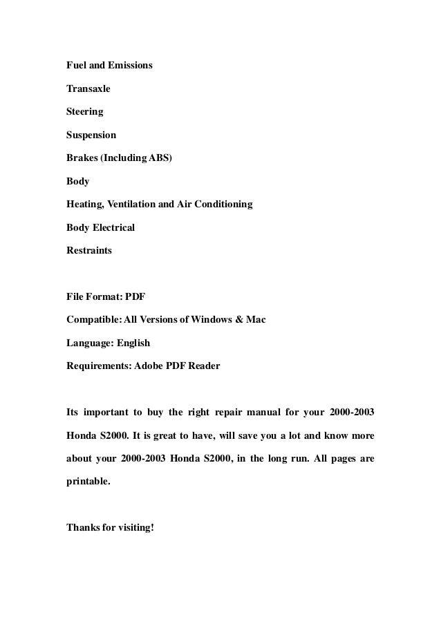 2000 2003 honda s2000 service repair workshop manual download 2000 2 rh slideshare net Honda S2000 Hardtop Honda S2000 Convertible
