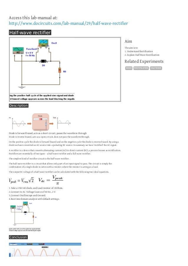 half wave rectifier rh slideshare net Wave Bridge Rectifier Full Wave Bridge Rectifier
