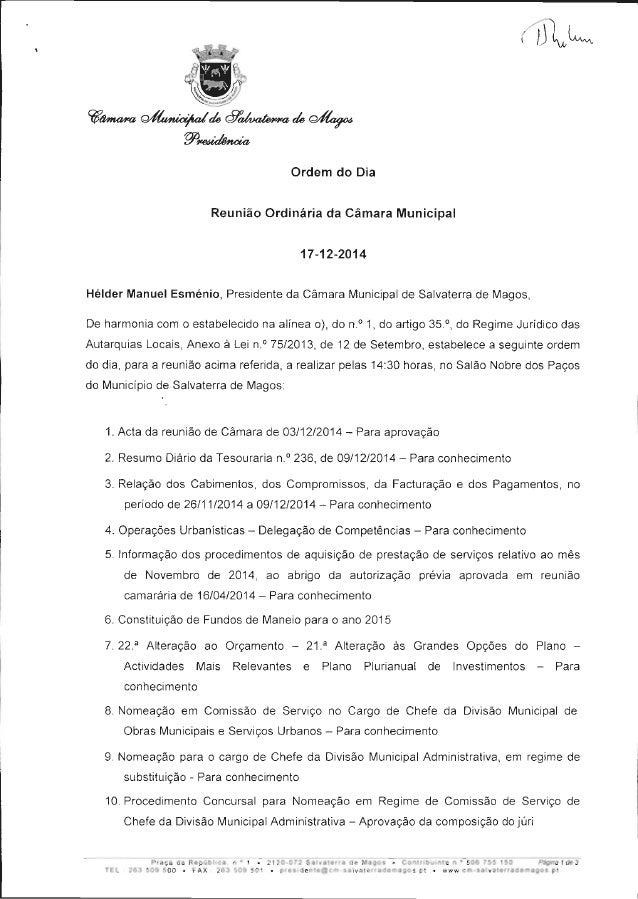 """2.5""""**  ta',  l  à  . u.  Ordem do Dia Reunião Ordinária da Câmara Municipal 17-12-2014  Hélder Manuel Esménio,  President..."""