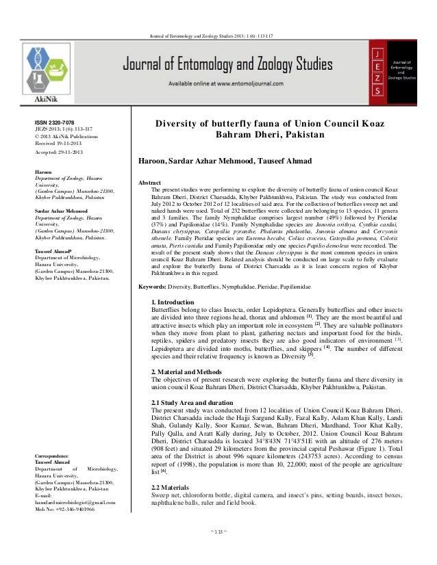 ~113~ Journal of Entomology and Zoology Studies 2013; 1 (6): 113-117 ISSN 2320-7078 JEZS 2013; 1 (6): 113-117 © 2013 Ak...