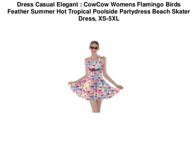 32f547e889 Dress Casual Elegant : CowCow Womens Flamingo Birds Feather Summer Hot  Tropical Poolside Partydress Beach Skater Dress, XS-5XL; 3.