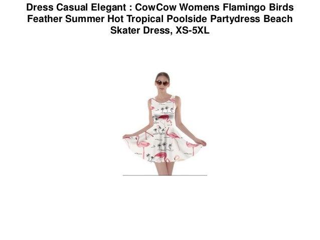 611fb48d6e Dress Casual Elegant : CowCow Womens Flamingo Birds Feather Summer Hot  Tropical Poolside Partydress Beach Skater Dress Elegant Dresses | women's  summer ...