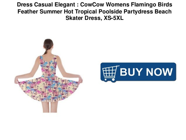 8058be7bad Dress Casual Elegant : CowCow Womens Flamingo Birds Feather Summer Hot  Tropical Poolside Partydress Beach Skater Dress, XS-5XL; 4.