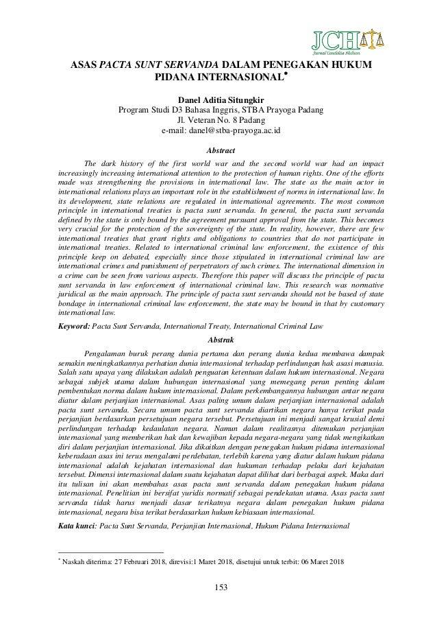 Asas Pacta Sunt Servanda Dalam Penegakan Hukum Pidana Internasional