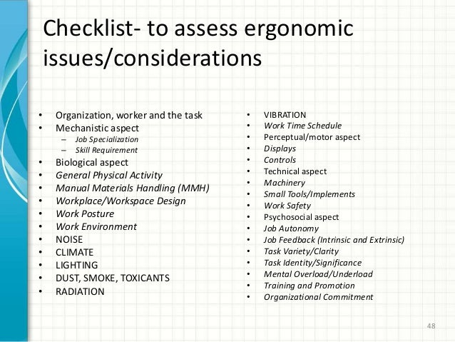 performance oriented ergonomic checklist for computer Computer ergonomics laboratory ergonomics ergonomic resources home / ergonomics / ergonomic resources performance oriented ergonomic checklist for computer (vdt) workstations laptop specific cornell musculoskeletal discomfort questionnaires (ls-cmdq.
