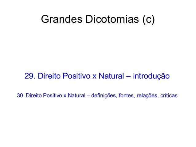 Grandes Dicotomias (c)  29. Direito Positivo x Natural – introdução 30. Direito Positivo x Natural – definições, fontes, r...