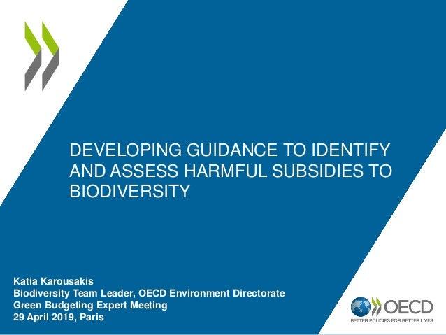 Katia Karousakis Biodiversity Team Leader, OECD Environment Directorate Green Budgeting Expert Meeting 29 April 2019, Pari...