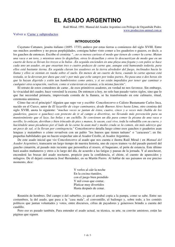 EL ASADO ARGENTINO                                        Raúl Mirad. 1991. Manual del Asador Argentino con Prólogo de Org...