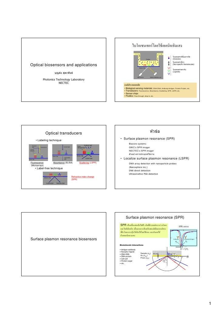 F                     F   Optical biosensors and applications                      บุญสง สุตะพันธ              Photonics...