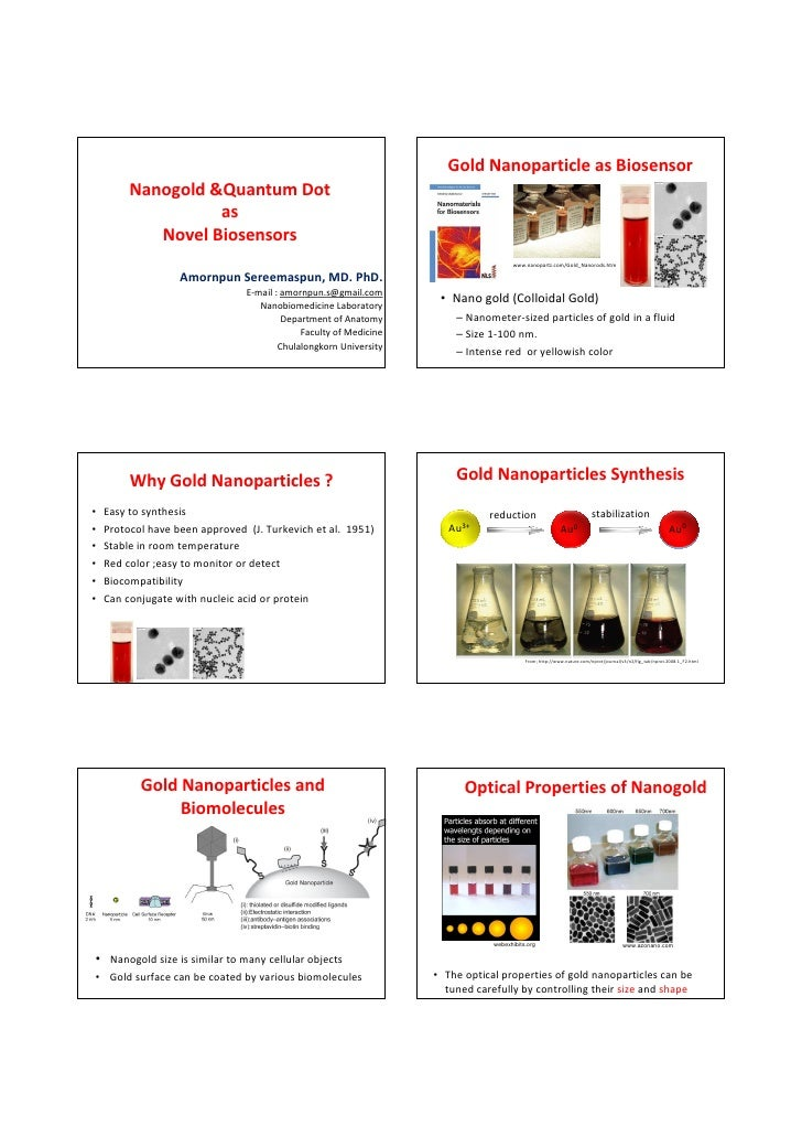 Gold Nanoparticle as Biosensor          Nanogold &Quantum Dot                    as             Novel Biosensors          ...