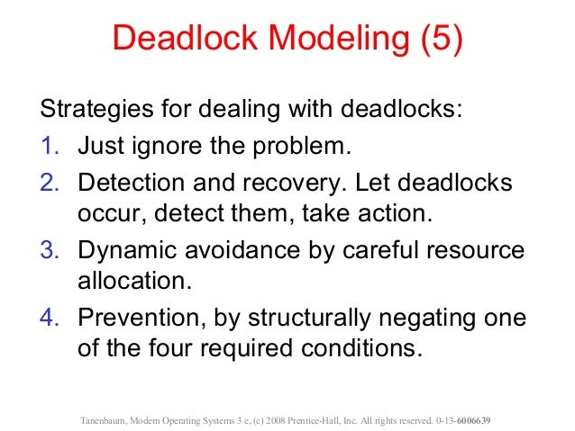deadlock and deadlocks general strategies In concurrent computing, a deadlock is a state in which each member of a group  is waiting for  in general, there is a set of waiting processes, p = {p1, p2,, pn} , such that p1  under the deadlock detection, deadlocks are allowed to occur.