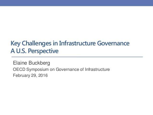 Key Challenges in Infrastructure Governance A U.S. Perspective Elaine Buckberg OECD Symposium on Governance of Infrastruct...