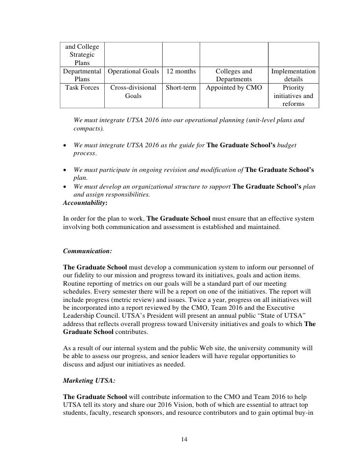 Grad School Final Draft Unit Strategic Plan Template For Utsa