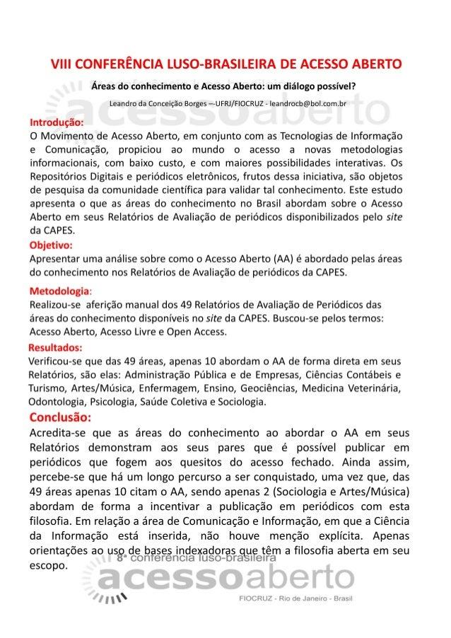 Áreas do conhecimento e Acesso Aberto: um diálogo possível? - CONFOA 2017