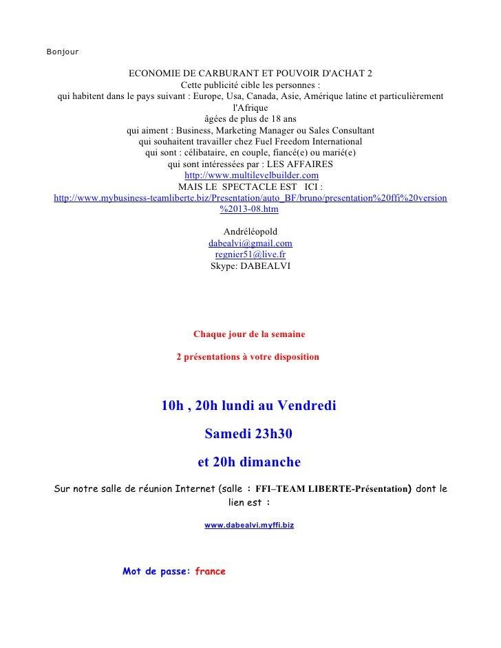 Bonjour                       ECONOMIE DE CARBURANT ET POUVOIR D'ACHAT 2                                    Cette publicit...