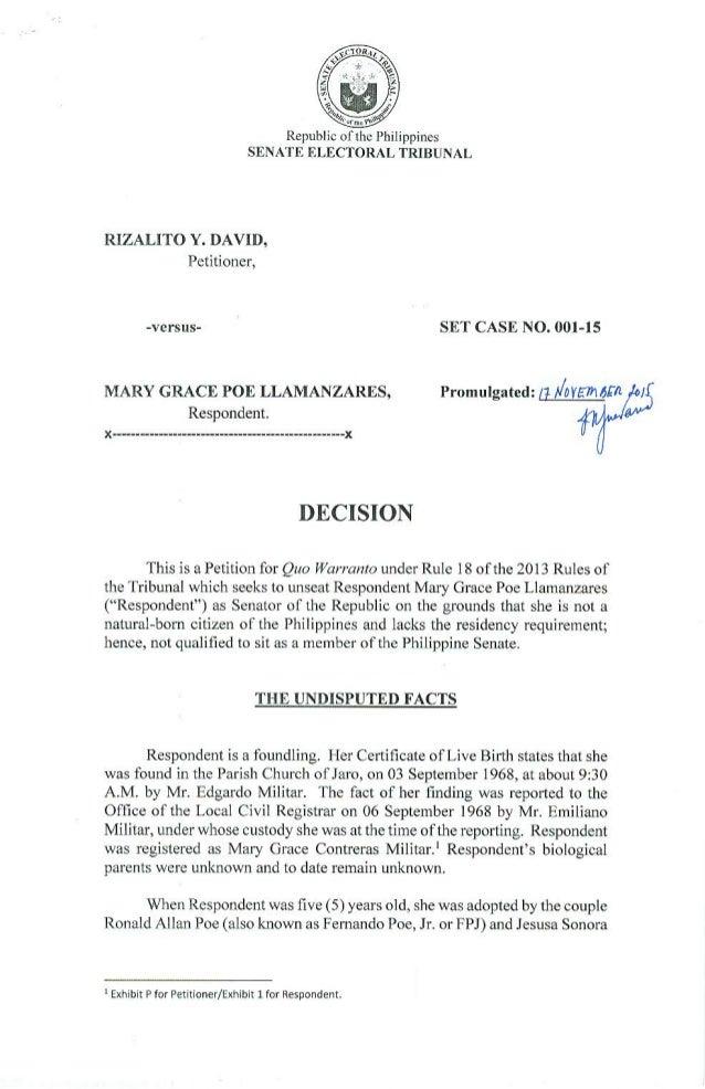 SC Decision SET Case Grace Poe Lamanzares