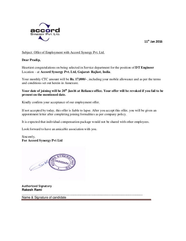 11th Jan 2016 Subject: Offer Of Employment With Accord Synergy Pvt. Ltd.  Dear ...