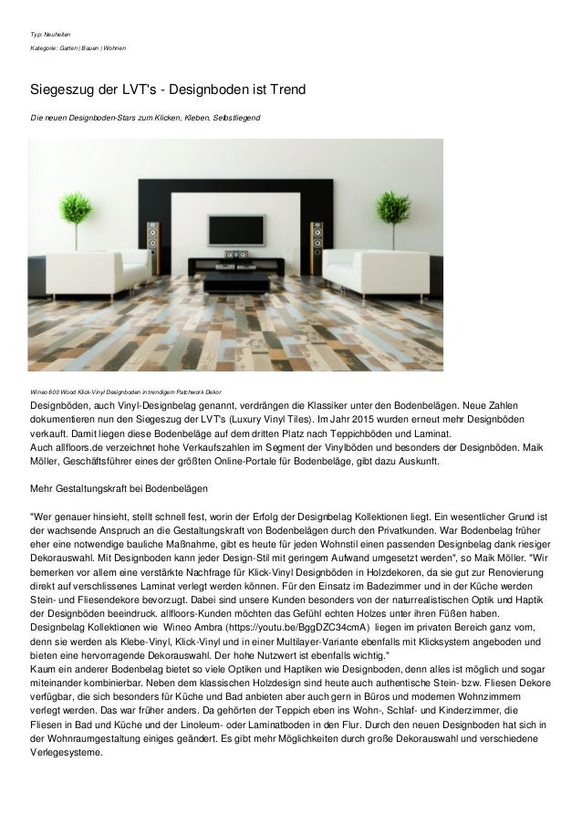 Typ: Neuheiten Kategorie: Garten | Bauen | Wohnen Siegeszug der LVT's - Designboden ist Trend Die neuen Designboden-Stars ...