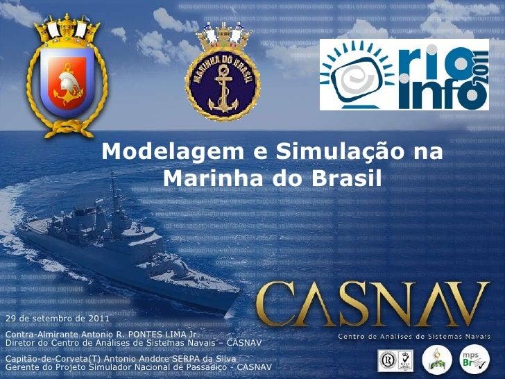 Modelagem e Simulação na Marinha do Brasil 29 de setembro de 2011 Contra-Almirante Antonio R. PONTES LIMA Jr.  Diretor do ...